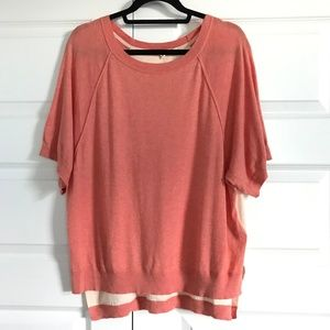 MOTH Coral Two Tone Short Sleeve Dolman Sweater M